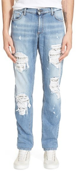 e931394e1eb ... Light Blue Ripped Jeans Versace Jeans Ripped Repaired Jeans Size 32 Blue  ...