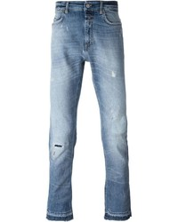 Mid wash distressed jeans medium 611903