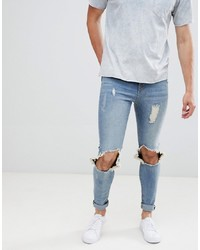 Hoxton Denim Muscle Fit Jeans With Busted Knees In Mid Wash