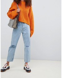 ASOS DESIGN Recycled Florence Authentic Straight Leg Jeans In Light Stonewash Blue With Rips