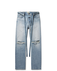 Fear Of God Relaxed Fit Belted Distressed Selvedge Denim Jeans