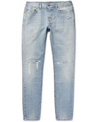 Saint Laurent Skinny Fit 16cm Distressed Washed Denim Jeans