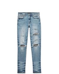 Amiri Skinny Fit Embellished Twill Panelled Distressed Stretch Denim Jeans