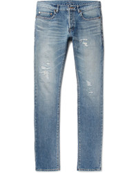 Slim fit 17cm hem distressed washed denim jeans medium 1194669