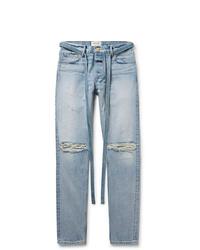 Fear Of God Slim Fit Belted Distressed Selvedge Denim Jeans