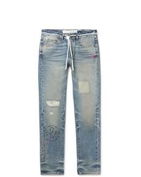 Off-White Slim Fit Embellished Distressed Denim Jeans