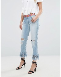 Replay Straight Jeans With Rips And Extreme Frayed Hem