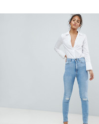 Asos Tall Asos Design Tall Farleigh High Waist Slim Mom Jeans In Light Vintage Wash With Busted Knee And Rip Repair Detail