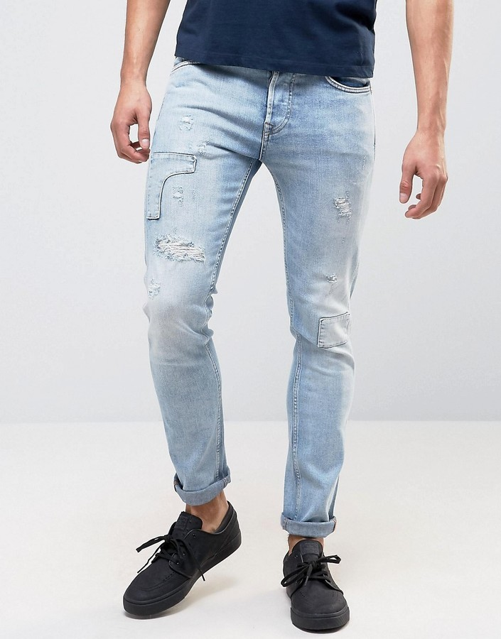 8d437ef9241 ... Pepe Jeans Pepe Archive Eddy Skinny Fit Jean Bleach Destroyed Wash ...