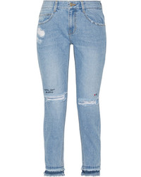Sjyp steve j yoni p embroidered distressed high rise skinny jeans mid denim medium 1126055