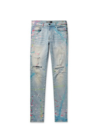 Amiri Skinny Fit Distressed Paint Splattered Stretch Denim Jeans