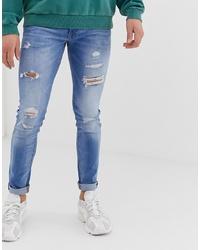 Jack & Jones Skinny Fit Jeans In Light Blue Wash With Rip Repair Detail