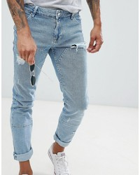 ASOS DESIGN Skinny Jeans In Light Wash Blue Cut And Sew Panelling