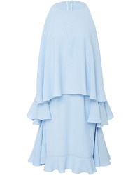 Light Blue Ruffle Swing Dress