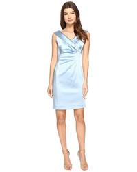 Light Blue Satin Sheath Dress