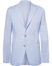 Faconnable blue stretch cotton and silk blend seersucker blazer medium 243582