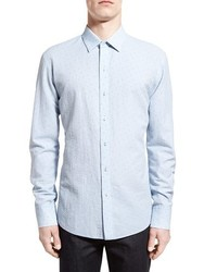 Elogan trim fit seersucker stripe sport shirt medium 454373