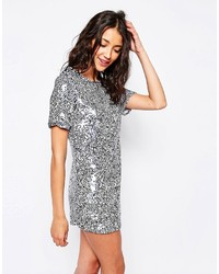 Light Blue Sequin Shift Dress