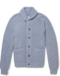 Hardy Amies Ribbed Cotton Shawl Collar Cardigan