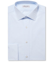 Charvet Blue Slim Fit Double Cuff Cotton Poplin Shirt