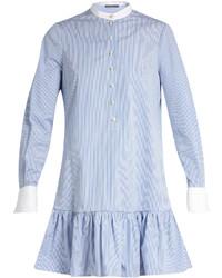Alexander McQueen Mandarin Collar Cotton Poplin Shirtdress