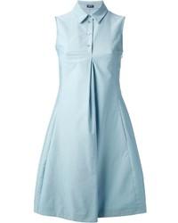 Jil Sander Navy Pleated Shirt Dress