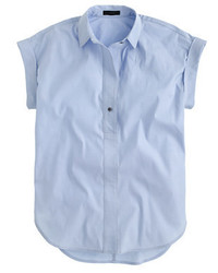 J.Crew Short Sleeve Popover Shirt In Oxford Blue