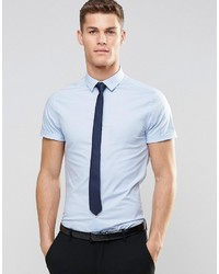 Asos Brand Skinny Shirt In Blue With Short Sleeves And Navy Tie Pack Save 15%