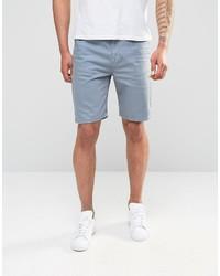 Asos Brand Denim Shorts In Slim Fit In Light Blue