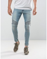 ASOS DESIGN Extreme Super Skinny Jeans In Light Wash Biker