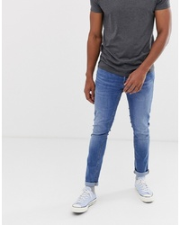 Jack & Jones Intelligence Tapered Slim Fit Jeans In Light Blue