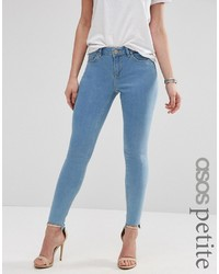 Asos Petite Petite Lisbon Skinny Mid Rise Jeans In Honey Light Wash With Stepped Raw Hem