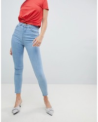 Chorus Raw Hem High Rise Skinny Jeans With Rose Embroidered Pocket