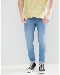 Saints Row Skinny Fit Jeans In Mid Blue