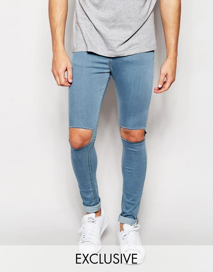 save up to 60% discount coupon wide selection of colors £50, Reclaimed Vintage Super Skinny Jeans With Knee Cut Outs