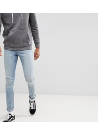 ASOS DESIGN Tall Super Skinny Jeans In Light Wash Blue With Abrasions