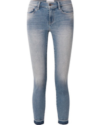 Current/Elliott The Stiletto Cropped Distressed Mid Rise Skinny Jeans
