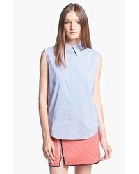 Light Blue Sleeveless Button Down Shirt
