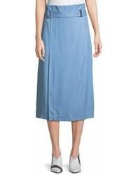 Light Blue Slit Midi Skirt