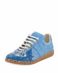 Light Blue Suede Low Top Sneakers