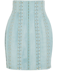 Balmain Lace Up Suede Mini Skirt Sky Blue