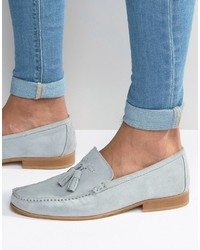 Asos Tassel Loafers In Pastel Blue Suede With Natural Sole