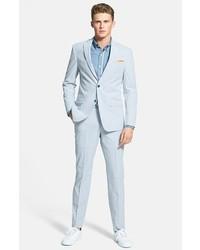 Michael Kors Michl Kors Trim Fit Seersucker Suit Blue White Stripe 44l