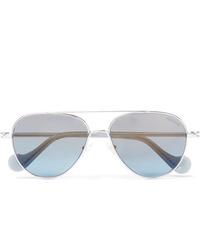 Moncler Aviator Style Palladium Plated Sunglasses