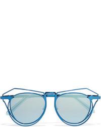 Karen Walker Marguerite Aviator Style Metal Mirrored Sunglasses Blue