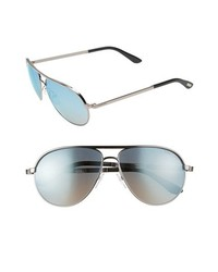 Tom Ford Marko Metal Aviator Sunglasses Shiny Light Ruthenium One Size