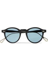 Moscot Miltzen Tt Round Frame Matte Acetate And Gold Tone Sunglasses