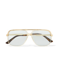Gucci Squared Aviator Style Gold Tone And Acetate Sunglasses