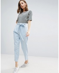Asos Tie Waist Linen Peg Pants