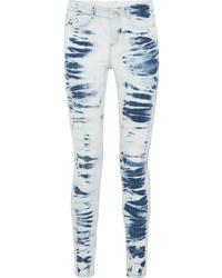 Light Blue Tie-Dye Skinny Jeans